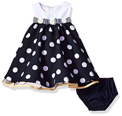 Bonnie Baby Baby Girls Sleeveless Dot and Stripe Party Dress with Panty, Empire Dot, 6-9 Months Sleeveless Panties