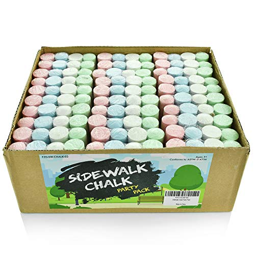Sidewalk Chalk Party Pack - 30 x Pack of 4 Multi-Color Jumbo Street Chalks - 4 Bright & Cheerful Colors - Nontoxic, Washable Tapered Chalks for Party Favors and Gifts - 1 x 4 Inches]()