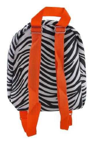 Zebra Print Nylon Mini Backpack Purse with Orange Accents