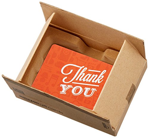 Amazon.com Gift Card in a Mini Amazon Shipping Box (Thank You Icons Card Design)