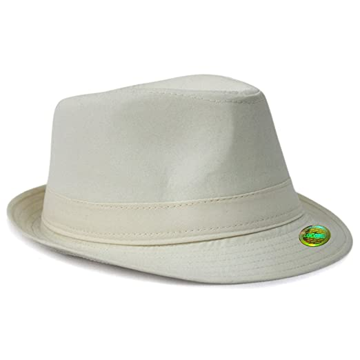 LOCOMO Plain Color Fedora Short Upturn Brim Hat FFH312BEI at Amazon ... 075e6821fdcb
