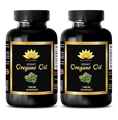 Colon Cleanse - OREGANO OIL EXTRACT 1500mg - Oregano powder - 2 Bottles 120 Capsules