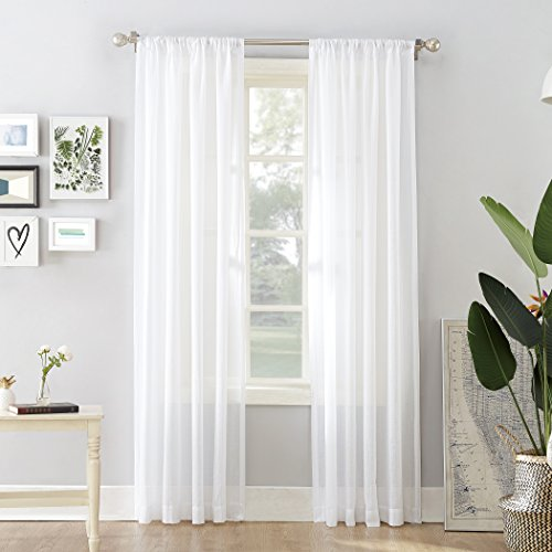 No. 918 Cory Open Weave Cotton Sheer Curtain Panel, 50