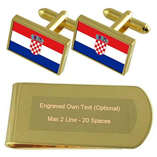 Regalo Gemelos Clip Grabado De Croacia Dinero De Dorado Set Tono Bandera En AxyZPfqwXX