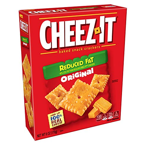 - Cheez-It Baked Snack Cheese Crackers, Reduced Fat, Original, 6 oz Box