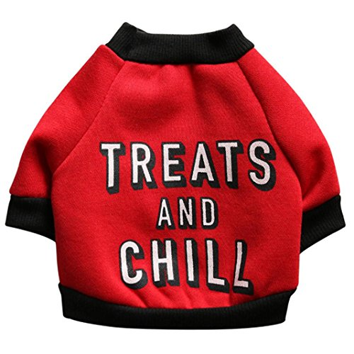 Puppy Fleece Shirt,Pet Dog Funny Letters Clothes Warm Sweater Apparel (M, Red)