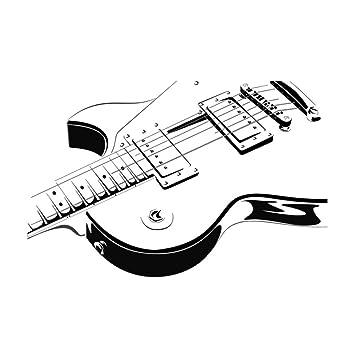 Guitarra Eléctrica Etiqueta de La Pared Arte Vinilo Autoadhesivo Instrumento Musical Tatuajes de Pared Para la Sala 66Cmx44Cm: Amazon.es: Bricolaje y ...
