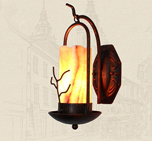DMMSS Retro Pastoral Bar Iron Stones Wall Lamps LED Passway Bedside Bathroom Mirror Front Lamps by DMMSS