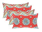 Resort Spa Home Decor Set of 4 Indoor/Outdoor Decorative Lumbar/Rectangle Pillows - 2 Bright Colorful Watermelon Chevron & 2 Coral Turquoise Sundial
