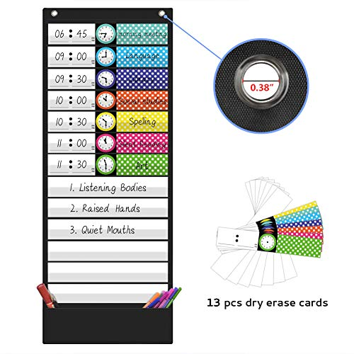 Daily Schedule Pocket Chart,Class Schedule with 13 Cards,13+1 Pockets (Black) (Pocket Chart Daily Schedule Black)