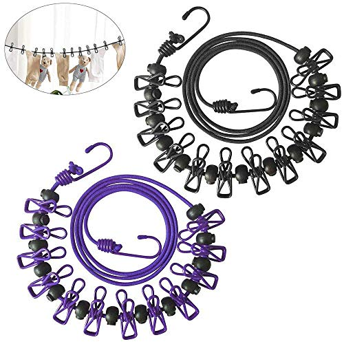 Travel Clothesline FOGAWA 2pcs Camping Portable Outdoor Clothesline Windproof Laundry Clothesline Cord Hooks Clips with 12pcs Clothespins for Backyard Purple Black