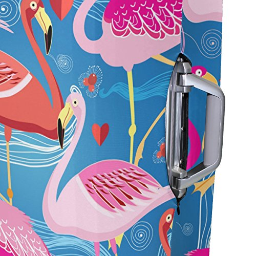 Hello Welcome Tropical Flamingo Floral Heart Love Valentines Suitcase Luggage Cover Protector for Travel Kids Men Women by ALAZA (Image #4)