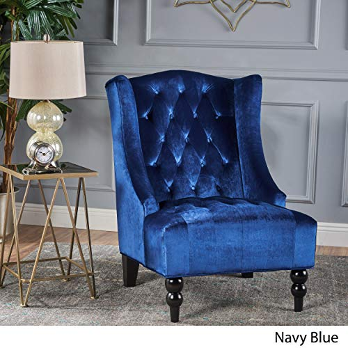 Tall Wingback Tufted Velvet Accent Chair, Vintage Club Seat for Living Room (Navy Blue)