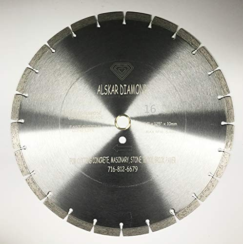 (ALSKAR DIAMOND ADLSS 16 inch Dry or Wet Cutting General Purpose Power Saw Segmented Diamond Blades for Concrete Stone Brick Masonry (16