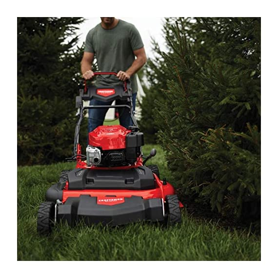 Craftsman M410 190cc Briggs & Stratton 875 Professional Series 28-Inch 2-in-1 Self-Propelled RWD Gas Powered Lawn Mower 3 POWERFUL 190CC OHV GAS ENGINE: Powerful Briggs & Stratton engine equipped with recoil and ready start-just pull to start! 2-IN-1 CAPABILITIES: Unit can mulch and side discharge. REAR WHEEL DRIVE: Provides more traction and the ability to operate over hilly terrain.