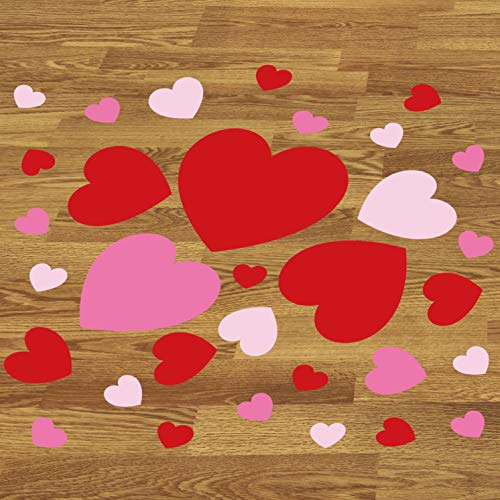 MerryJoyParty Valentines Day Heart Decorations Removable Heart Decals for Floor, Wall, Windows 3