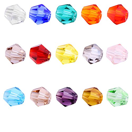 BEADNOVA 1500pcs 4mm Faceted Xilion Bicone Crystalized Crystal Glass Beads For Jewelry - Beads Crystal Faceted Bicone 4mm