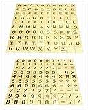 Hewnda 500 Wooden Letter Tiles, Wooden Spelling Tiles, 3 Sets of 100 Letters, 2 Sets of 100 Numbers and Symbols