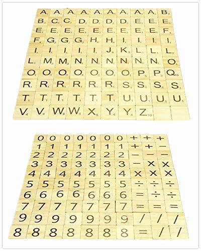 Hewnda 500 木製文字タイル 木製スペルタイル 100文字3セット 100数字と記号100枚2セット