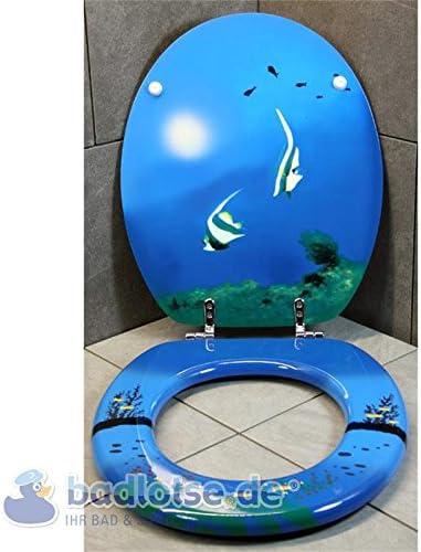 WC-Sitz TROPISCHE FISCHE Meer blau//gelb MDF-Holzkern Toilettensitz Klo