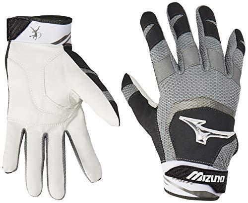 Mizuno Finch Adult Women's Fastpitch Softball Batting Gloves, Large, Black/White (Renewed)