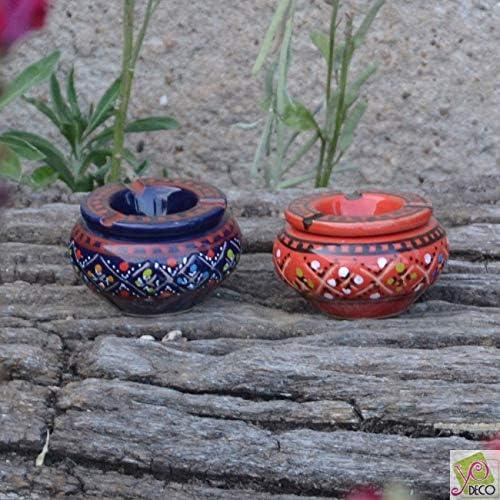 Mini mod/èle Lot 2 mini cendriers Marrakech bleu nuit et rouge