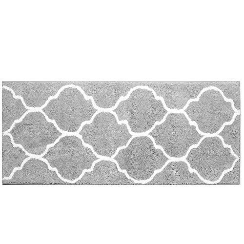 HEBE Extra Long Bathroom Rug Runner Microfiber Non-Slip Absorbent Bath Runner Rug Mat for Bathroom Machine Washable Kitchen Rug Runner 18''x48'' (Grey) by HEBE