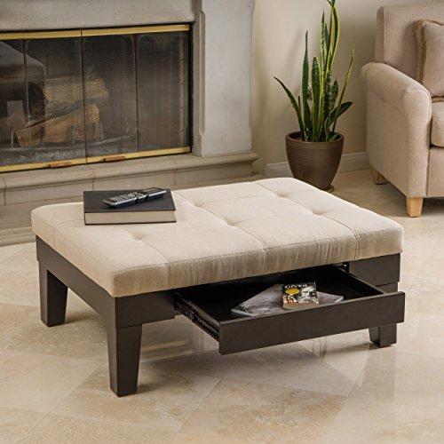 Amazoncom Tucson Natural Fabric Storage Ottoman Coffee Table