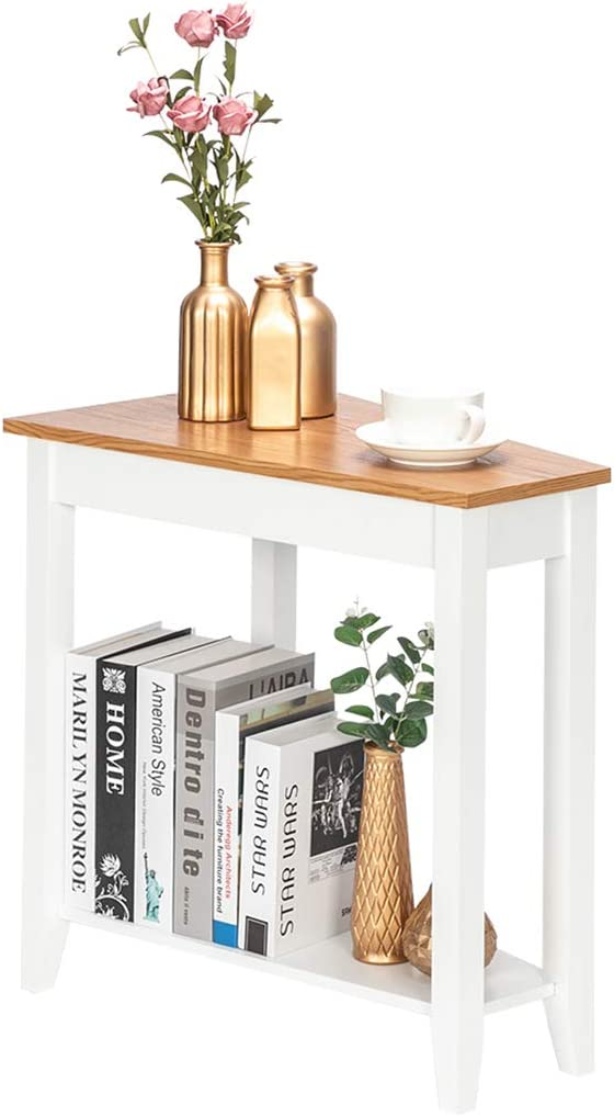 Kalafun Sofa Side Table, Simple and Irregular End Table, with Shelf, for Living Room, Laptop, Bedroom, Coffee, Couch and Small Spaces