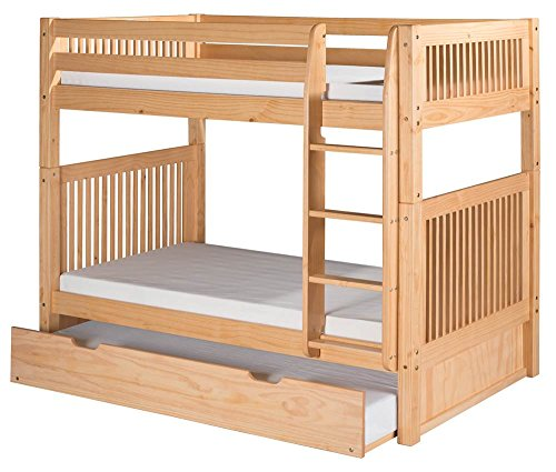 UPC 810692022163, Camaflexi Mission Style Solid Wood Bunk Bed with Trundle, Twin-Over-Twin, Side Attached Ladder, Natural