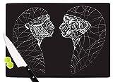 KESS InHouse MB6046ACB01 Maria Bazarova ''Two Twins'' Black White Cutting Board, 11.5 x 8.25'', Multi