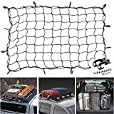47'x 36' Cargo net Bungee Nets Stretches to 80'x 60', Tight 3.15'x3.15'Mesh Holds More Than 200 lbs Loads,16 Adjustable Hooks -Easily Adaptable to Pickup Truck Bed and SUV Rooftop Travel Luggage Rack
