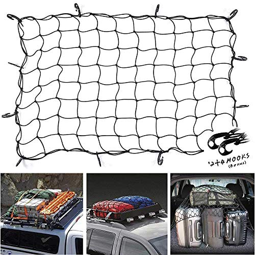 47x 36 Cargo net Bungee Nets Stretches to 80x 60, Tight 3.15x3.15Mesh Holds More Than 200 lbs Loads,16 Adjustable Hooks -Easily Adaptable to Pickup Truck Bed and SUV Rooftop Travel Luggage Rack
