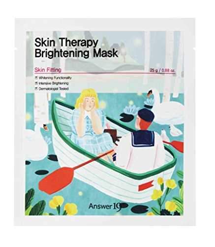 [ANSWER NINETEEN+] Skin Therapy Brightening Mask – Make Dull Skin Bright and Clear, Contains Flower Complex 2,000PPM, EU Eco-label 100% Cellulose Tencel Sheet, 25g / 0.88 fl. Oz, Pack of 5 ()