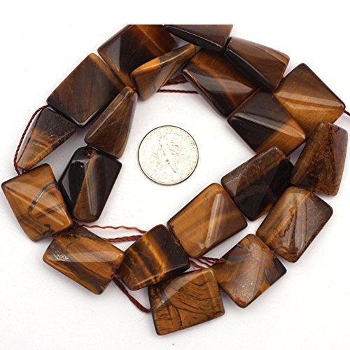 JOE FOREMAN 15x20mm Tiger Eye Semi Precious Gemstone Twist Rectangle Loose Beads for Jewelry Making DIY Handmade Craft Supplies - Eye Tiger Pendant Rectangle