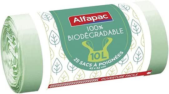 Alfapac - Lote de 25 bolsas de basura biodegradables con asas (42 ...