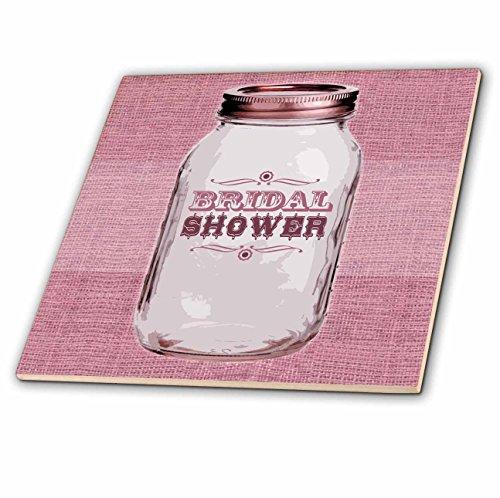 3dRose ct_128552_3 Country Rustic Mason Jar Pink Bri Wouldal Shower Ceramic Tile, 8-Inch - Rustic Porcelain Tile