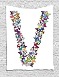 XHFITCLtd Letter V Tapestry, Butterfly Font Lepidoptera Tropical Animals Spring Summer Vibes Vibrant Design, Wall Hanging for Bedroom Living Room Dorm, 60 W X 80 L Inches, Multicolor