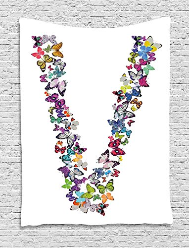 XHFITCLtd Letter V Tapestry, Butterfly Font Lepidoptera Tropical Animals Spring Summer Vibes Vibrant Design, Wall Hanging for Bedroom Living Room Dorm, 60 W X 80 L Inches, Multicolor by XHFITCLtd