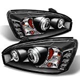 For Chevy Malibu Black Bezel Dual Halo Ring LED Design Projector Headlights Front Lamps Replacement