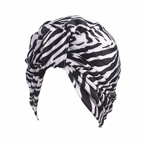 MOMEPE Women Dot Pleated Turban Headwraps Chemo Hat Beanies Caps Zebra - Fashion Express Zebra