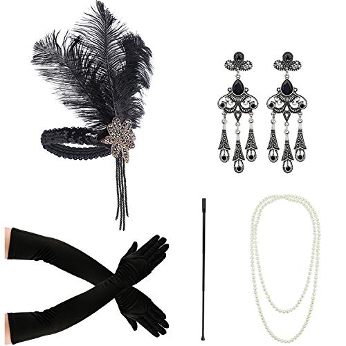 1920s Accessories for Women Headpiece Earrings Cigarette Holder Necklace Gloves Flapper Costume Set -