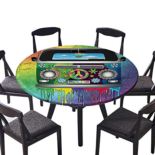 Dresser Youth Birch - Modern Simple Round Tablecloth Old Style Hippie Van with Dripping Rainbow Paint Mid 60S Youth Revolution Movement for Kitchen 55