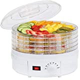 AZOD Smart Transparent Food Dehydrator Digital Automatic Fruit Vegetable Snack Jerky White Fruit Dehydrator with 5 Drying Shelves 5 Preset Temperature Settings Airflow Circulation Countdown Timer