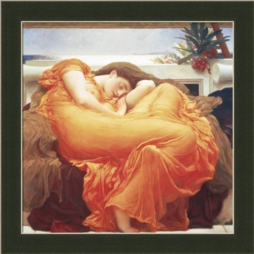 Flaming June by Frederic Leighton Neo-Classic Romantic 11.5x11.5 Wall Art Print Picture Framed - Flaming June Framed Print