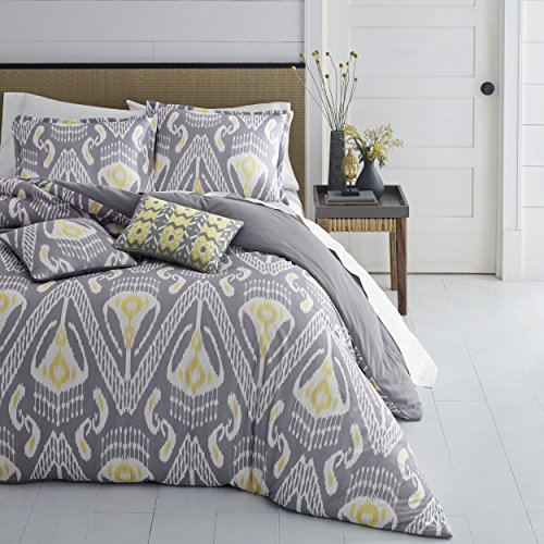 Azalea Skye Global Ikat Duvet Set, Twin, Gray/Yellow