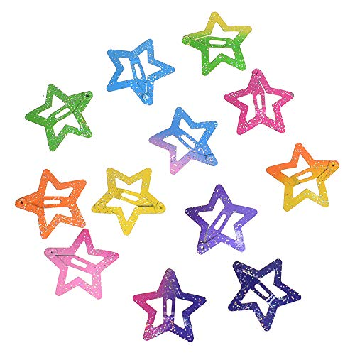DraFenn 12Pcs Star Butterfly Shape Hair Snap Clips 2.5 Cm Hairpins Colorful Glitter Pentagram Metal Hair Clips,Star ()