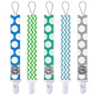 Blulu Baby Pacifier Holders Clips, Set of 5