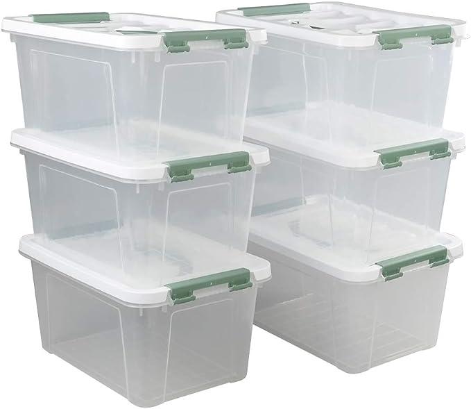 Ikando Cajas Contenedores Almacenaje de Plástico Transparente para Primeros Auxilios con Tapas, Paquete de 6: Amazon.es: Bricolaje y herramientas