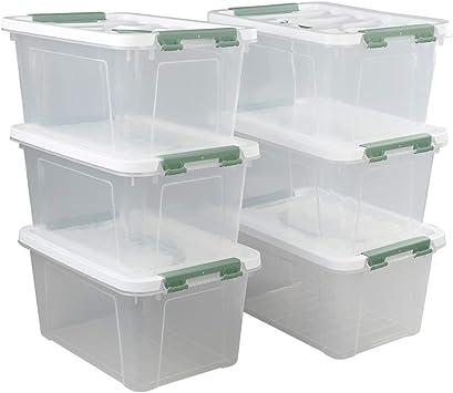 Ikando Kunststoff Aufbewahrungsbox Plastikkiste mit Deckel f/ür Erste-Hilfe-Haushalt den Au/ßenbereich 6 St/ück Transparent